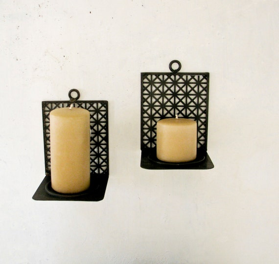 2 Mid Century Modern Candle Holder Wall Sconces