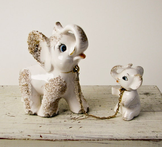 Vintage White Elephant Mom And Baby 1950s Textured By