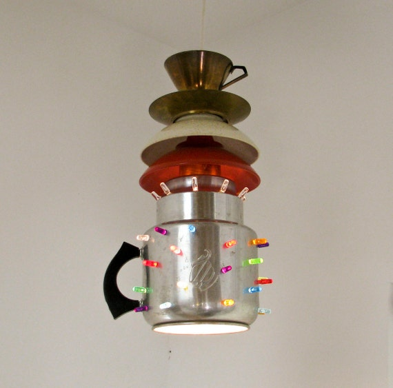 Pendant Light - Vintage Coffee Pot - Reclaimed Lighting