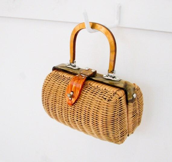 Vintage Rattan and Lucite Handbag - Cute Summer Accessory