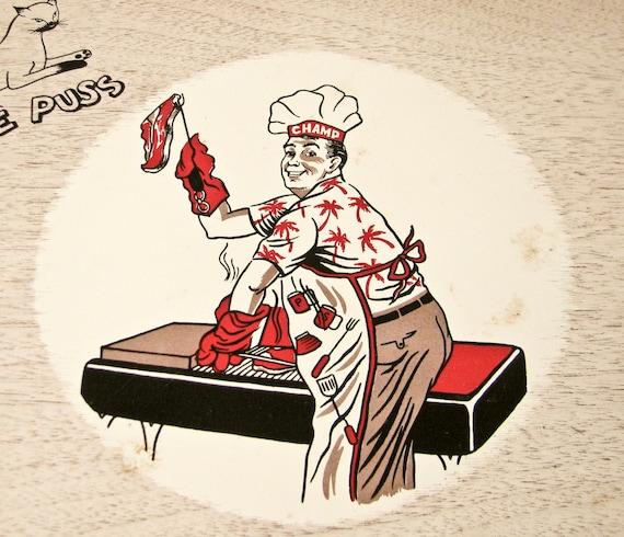 4 BBQ Trays - Serve Hamburgers Brats Hot dogs - 1950s Kitsch - Father's Day