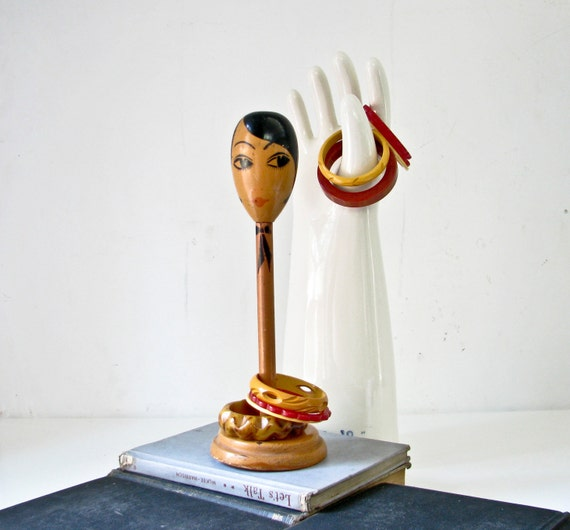 Art Deco Lady Hat Stand - Flapper Face - Wood Stand