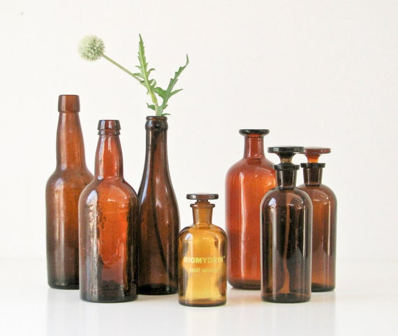 Vintage Brown Glass Bottles - Collection of 7