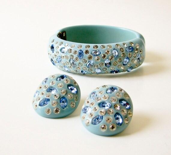 Bakelite and Rhinestone Bracelet and Earring Set - Powder Blue - Weiss