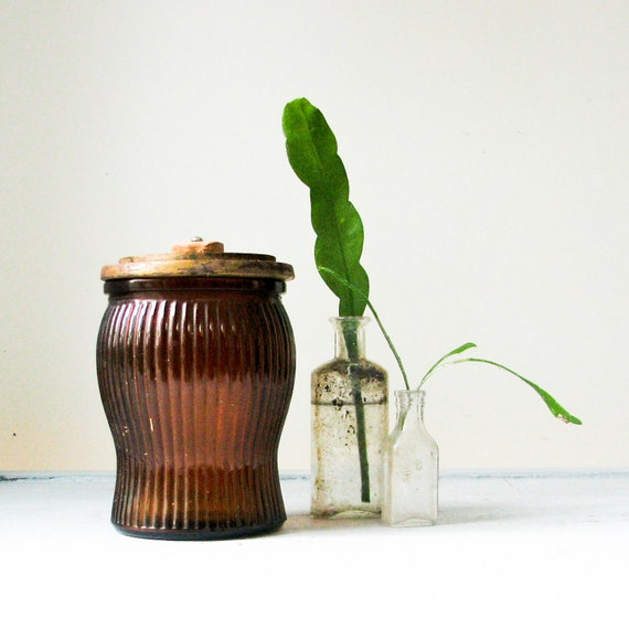Vintage Brown Glass Jar with Wood Lid - Humidor - Cannister