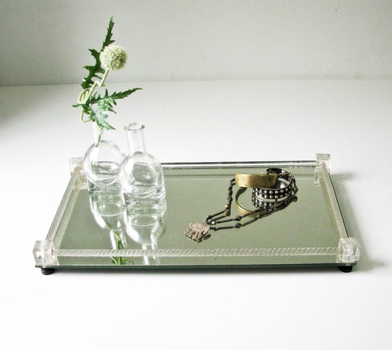 Mirror and Cut Glass Vanity Tray - Perfume Tray - Jewelry Display