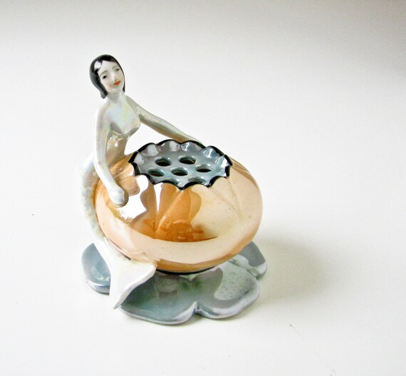 Mermaid Flower Frog -Rare Vintage Lusterware