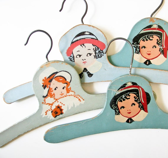 4 Vintage Child Hangers - Shades of Blue-Green - Children Faces