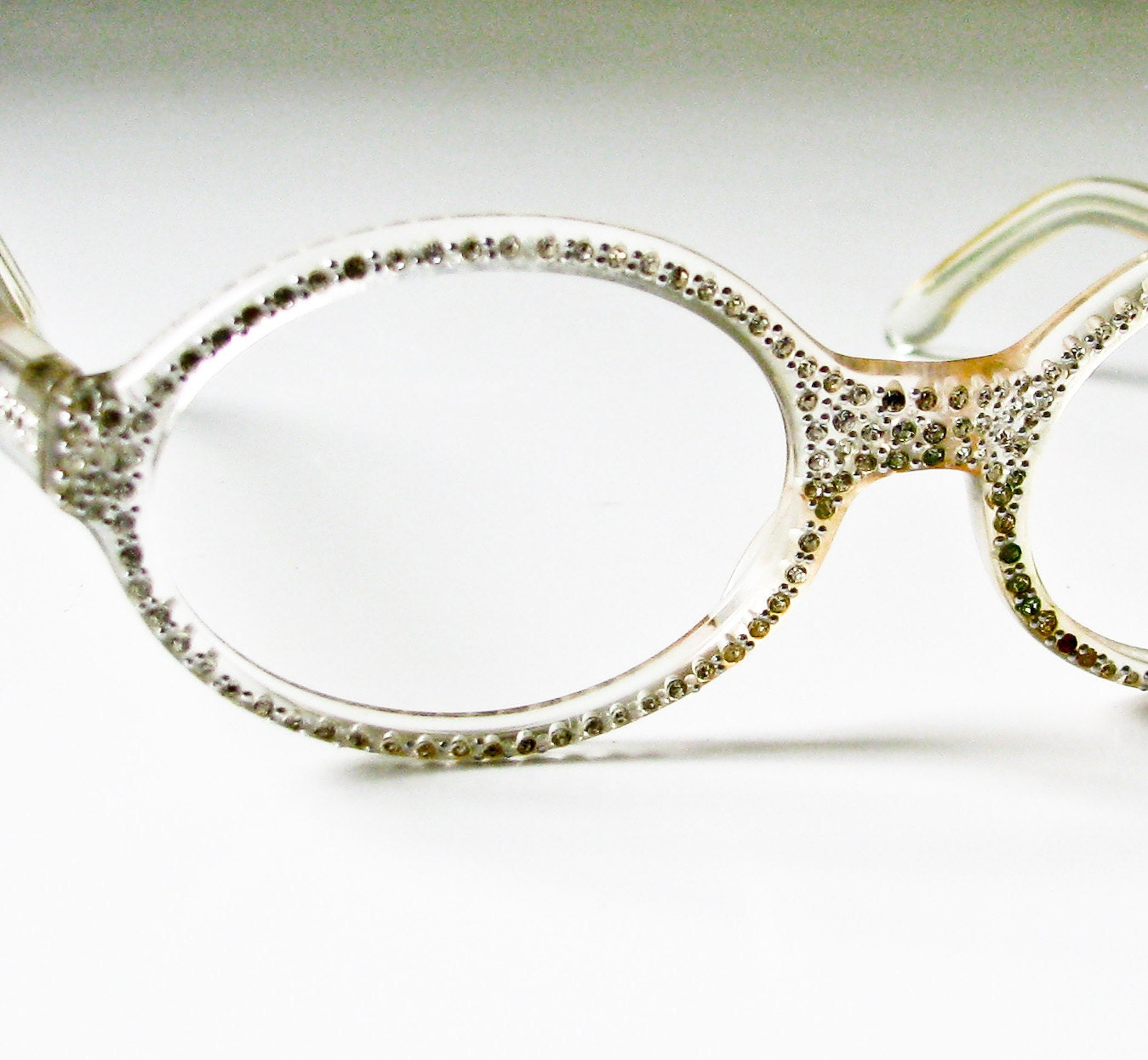 Eyeglasses Frames With Bling : 1950s Clear Plastic and Rhinestone eyeglass Frames