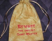 Dungeons and Dragons game dice BEWARE the GAME MASTER bag
