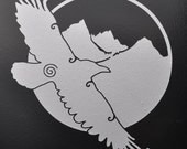 Crow raven totem silver vinyl decal