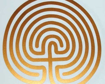 Classic 7 circuit labyrinth copper vinyl decal