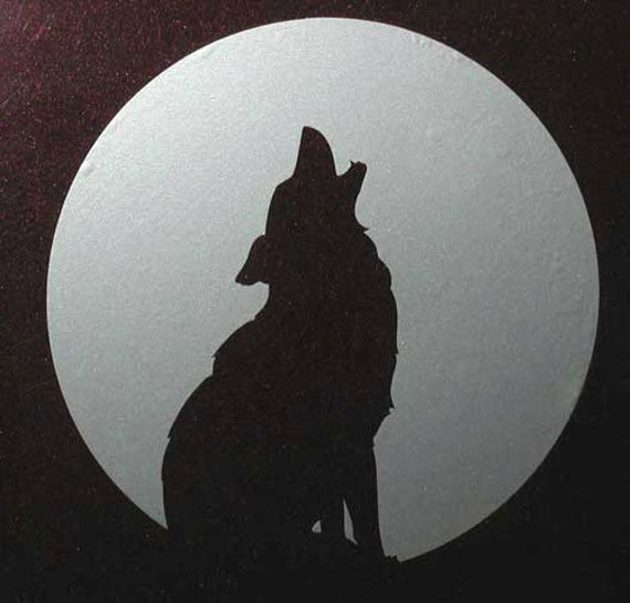 Wolf coyote moon totem silver vinyl decal