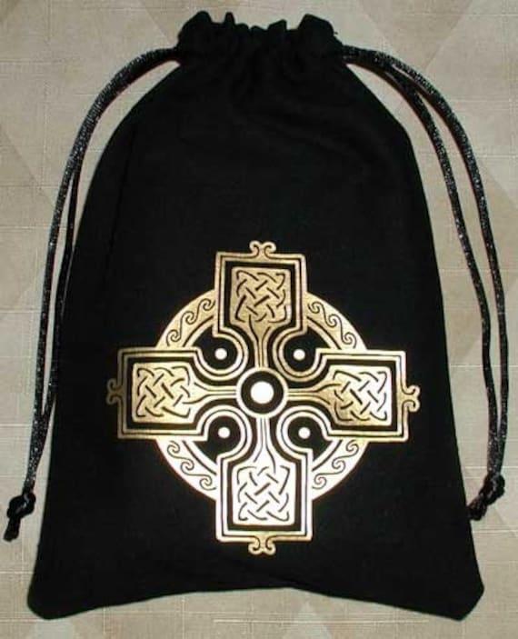 Celtic knot cross medieval tarot dice rune bag