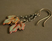 late summer enameled copper leaf with raw brass chain and ear wires