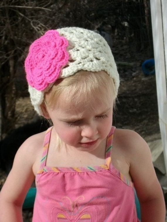 Crochet Beanie Hat Pattern Crochet Cap Pattern Girls Hat with Large Flower Pattern