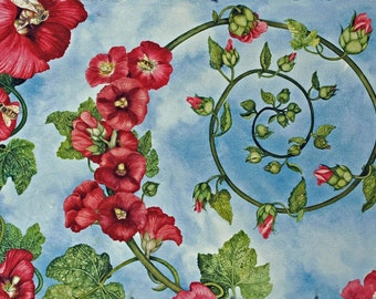 Hollyhock Spiral, an original watercolor painting