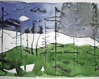 Pines Study III an original watercolor painting