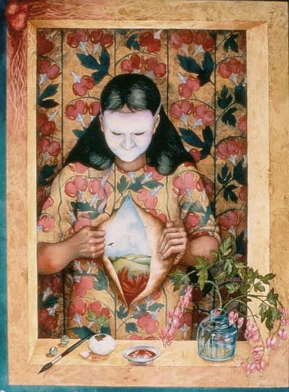 Wallflower Muse Bleeding Heart an original watercolor painting