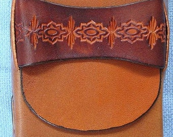 Leather Cigarette Case Hand Tooled Stitched