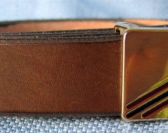 """3/4"""" Wide Leather Belt Hand Cut and Dyed Custom Fit Free Key Fob"""