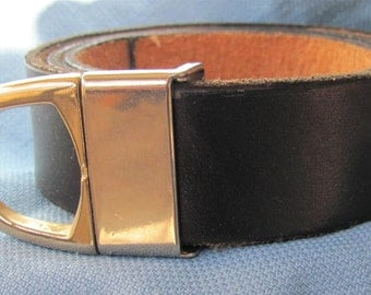 """1 1/2"""" Wide Black Leather Belt Hand Cut and Dyed Custom Fit Free Key Fob"""