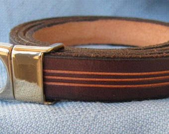 """5/8"""" Wide Womens Leather Belt Hand Carved and Dyed Custom Fit Free Key Fob"""
