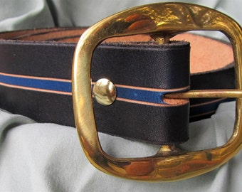 """1 1/2"""" Wide Leather Belt Hand Carved and Dyed With Solid Brass Buckle Custom Fit Free Key Fob"""