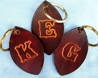 Leather Key Fob Hand Tooled Choose Any Letter Free Shipping
