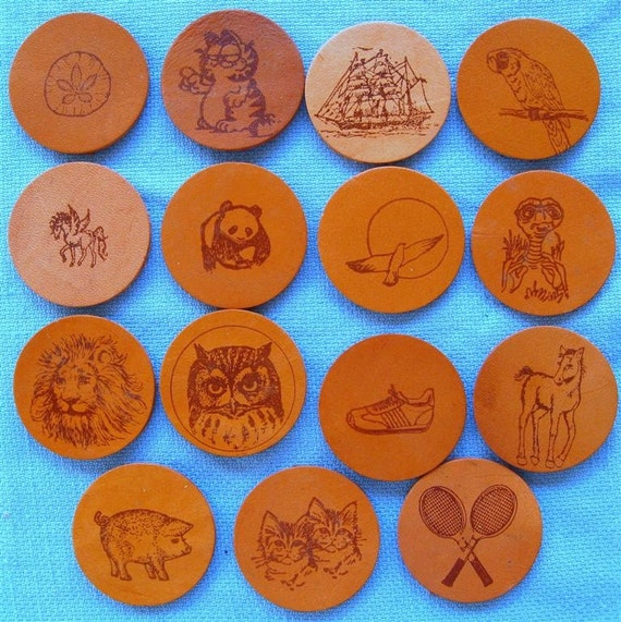 Leather Refrigerator Magnet Hand Stamped. 3.95 Free Shipping
