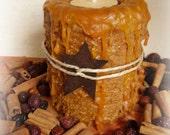 Tealight Grubby Pillar Candle with Rusty Star