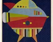 Set of 3 prints - Space paper collage on wood - 8 1\/2 x 8 1\/2 in