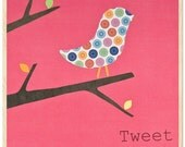 Set of 3 prints - Bird in a Tree collage on wood - 8 1\/2 x 8 1\/2 in