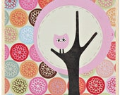 Set of 3 prints - Owl in a Tree collage on wood - 8 1\/2 x 8 1\/2 in