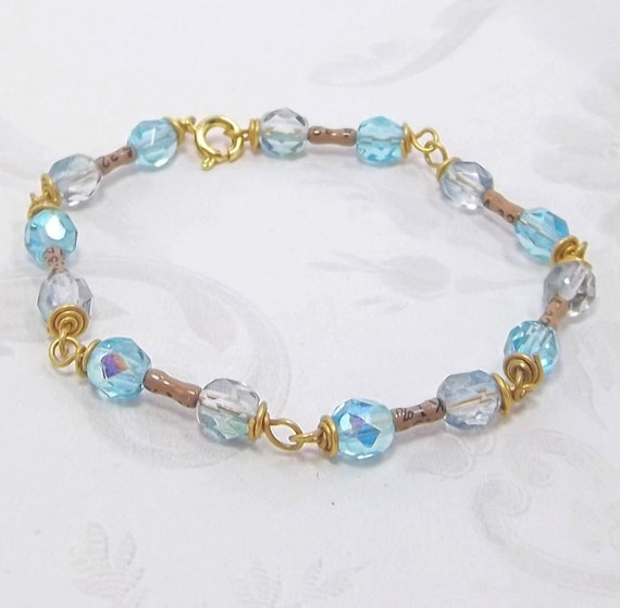 Celestial Blue faceted glass beads and Transistor Bracelet made from Electronics Parts and gold findings