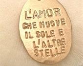 "Italian Quote Necklace - ""Dante's God"" in GOLD"
