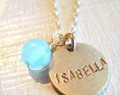 Single Gold Name with Aqua Chalcedony Bead