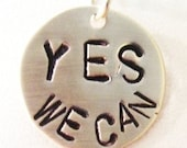 YES WE CAN Obama Necklace in Sterling Silver