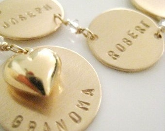 Handful of Love - PERSONALIZED BRACELET Handstamped 14k gold filled Tags Charms Links