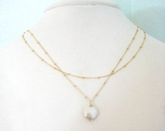 """Gold Coin Pearl Necklace - """"Tea House ot the August Moon""""  Most Versatile Necklace"""
