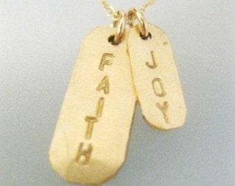 """Gold Bar Charms Necklace - """"A Little Faith and a Little Joy"""""""