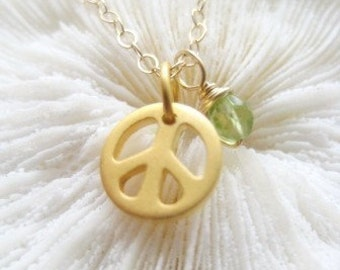 "Tiny Gold Peace Charm Necklace -""GREEN PEACE"""