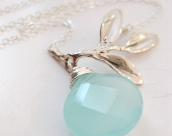 """Silver Leaf Necklace - """"A Simple Life with Aqua Chalcedony Briolette"""""""