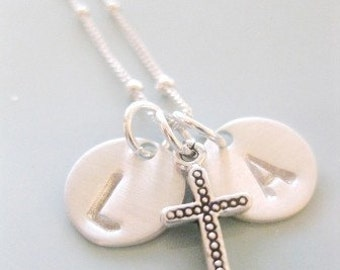 Cross Necklace Personalized  with Petite Initials in Sterling Silver
