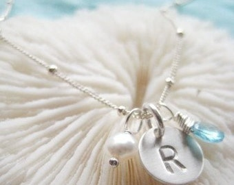 """Initial Charm Necklace Bridesmaid Edition - """"Pretty Petite Initial Sterling Silver with Apatite and Pearl"""""""