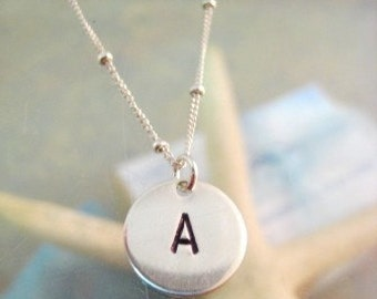 "Silver Initial Charm Necklace - ""Initially Yours"""