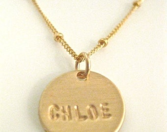 Gold Name Necklace Personalized and Hand Stamped / Pretty Little Names in GOLD - with 1 disc
