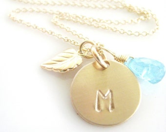 """Initial Charm Necklace - """"Sweet Leaf  with Apatite"""" in Gold"""