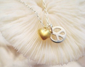 "Heart and Peace Sign Charm Necklace - ""Peace and Love"" - 2nd Edition"