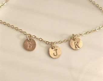 """Dainty Gold Necklace - Personalized """"Tiny Initial Coins"""" - with three charms"""